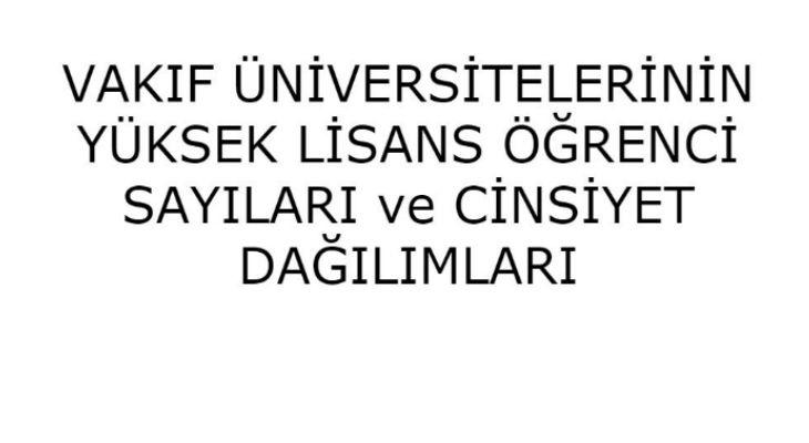 Vakıf Üniversiteleri Öğrenci Sayıları