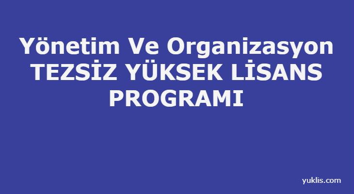 Yönetim Ve Organizasyon Tezsiz Yüksek Lisansı