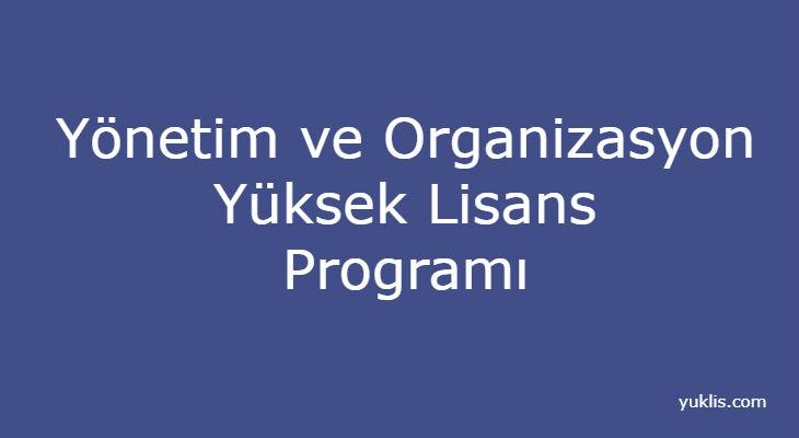 Yönetim ve Organizasyon Yüksek Lisansı